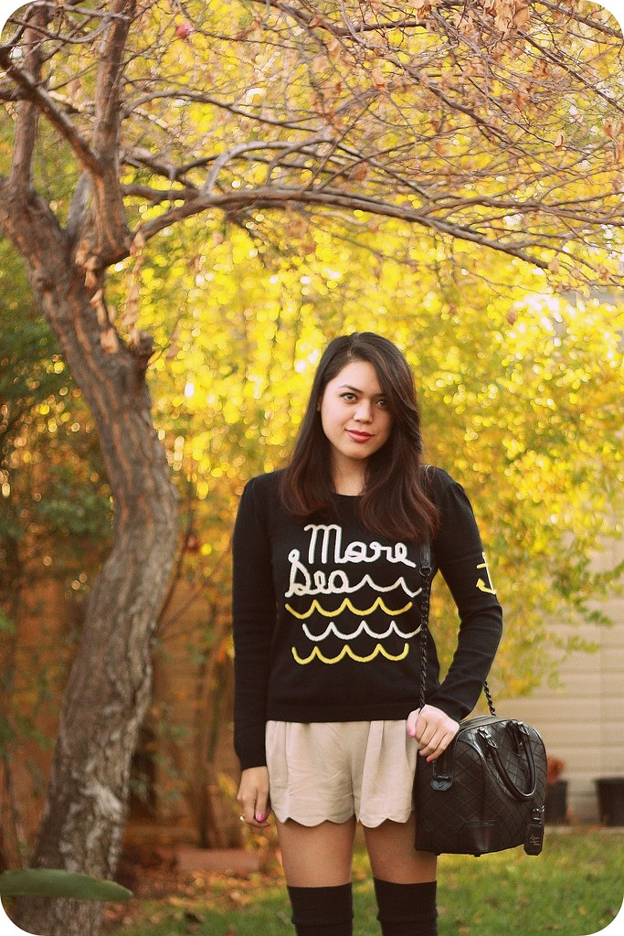 Style fashion outfit post featuring Dear Creatures More Sea sweater from ModCloth, scalloped shorts, Alice+Olivia quilted satchel, Topshop Mary-Janes