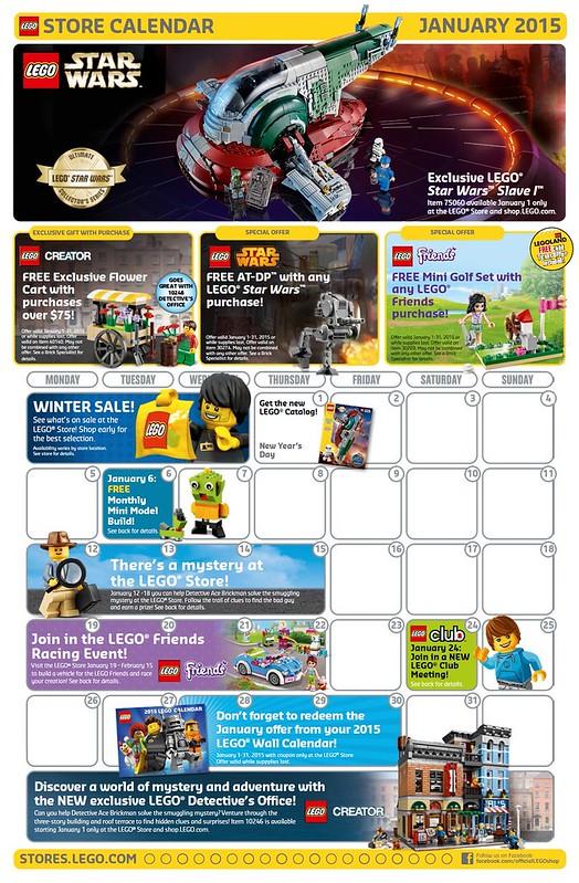 LEGO Shop January 2015 Calendar