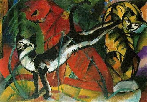 Les trois chats - toile de Franz Marc