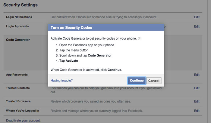 Easy way to add security to Facebook account