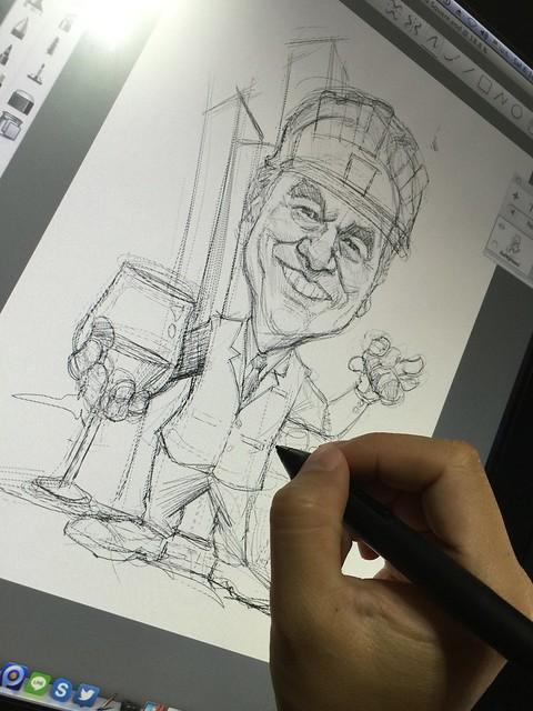 digital boss caricature at Asia Square for BlackRock