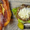 2nd Fav of May: May was #Burger Month so I was at home celebrating my #love for #burgers with this #Bacon #Feta Burger. #beef #pork #foodporn #pickle #cheese #lettuce #freshground #nikon #nikonphotographer #burgerporn