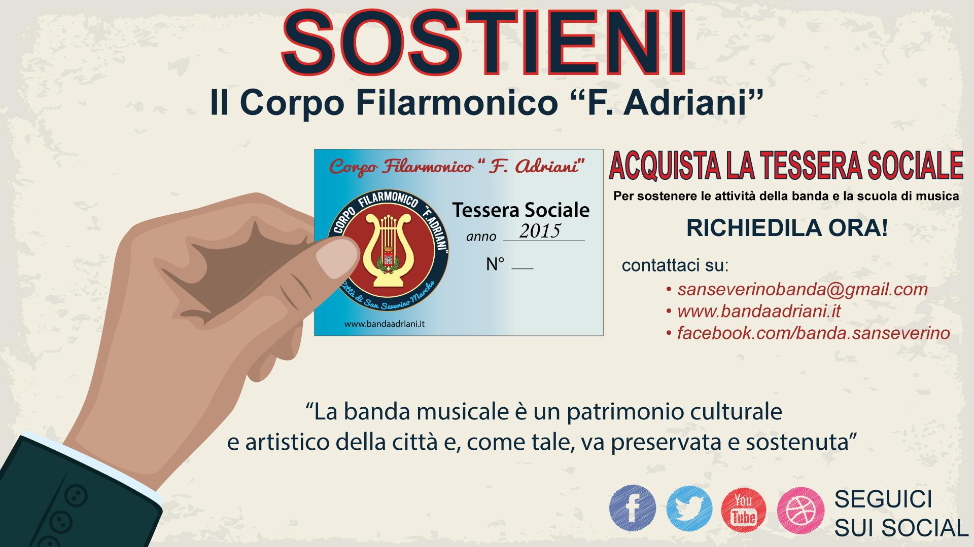 Sostieni la #BandaAdriani con la TESSERA SOCIALE
