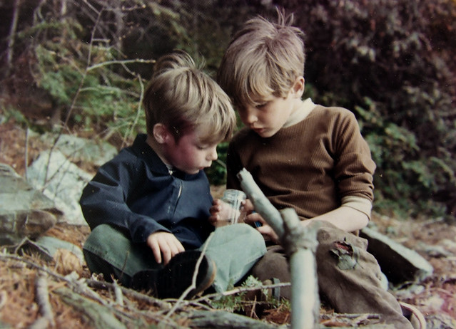 examining an insect with Steve, 1971