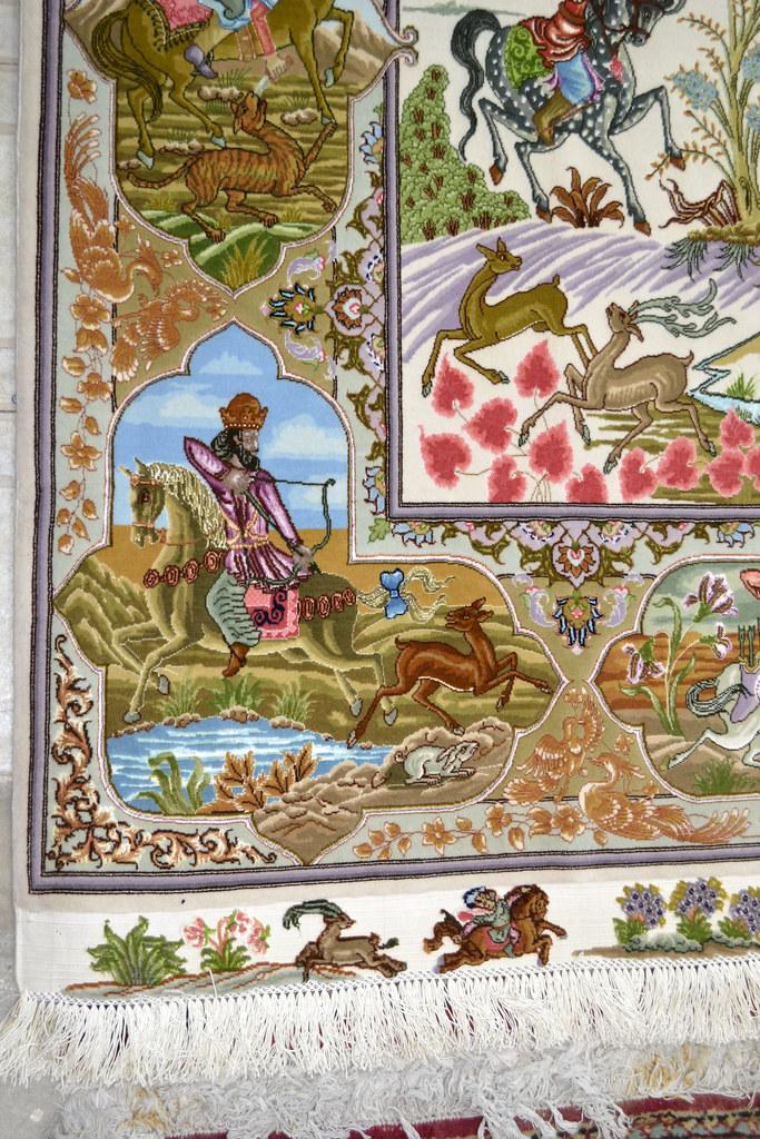 Tabriz 70 Raj - hunting scene Fine 7x10 (19)