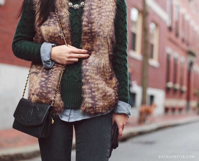faux fur vest outfit1