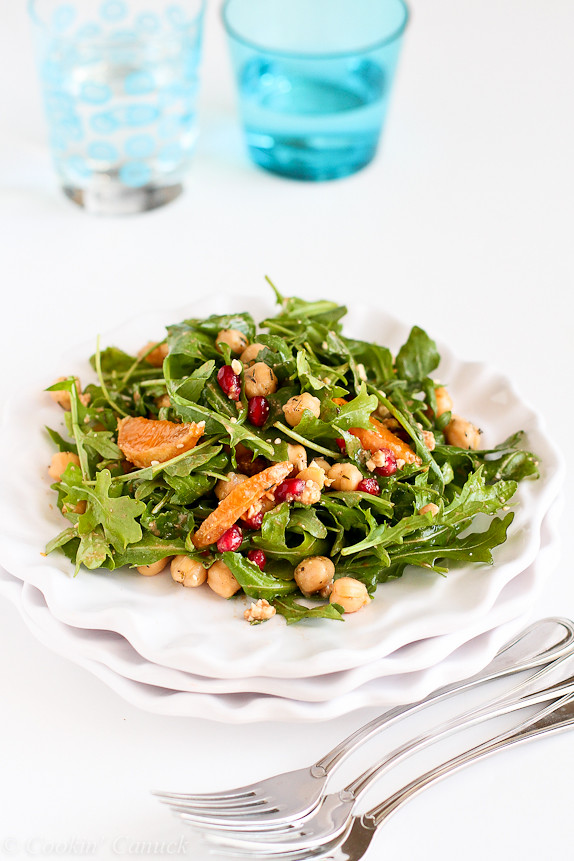 Pomegranate, Clementine, Herbed Chickpea and Arugula Salad...A wonderful vegetarian meal! 222 calories and 6 Weight Watchers PP | cookincanuck.com #healthy
