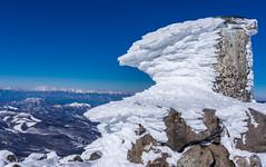 凍てついた方位盤と北アルプス@蓼科山