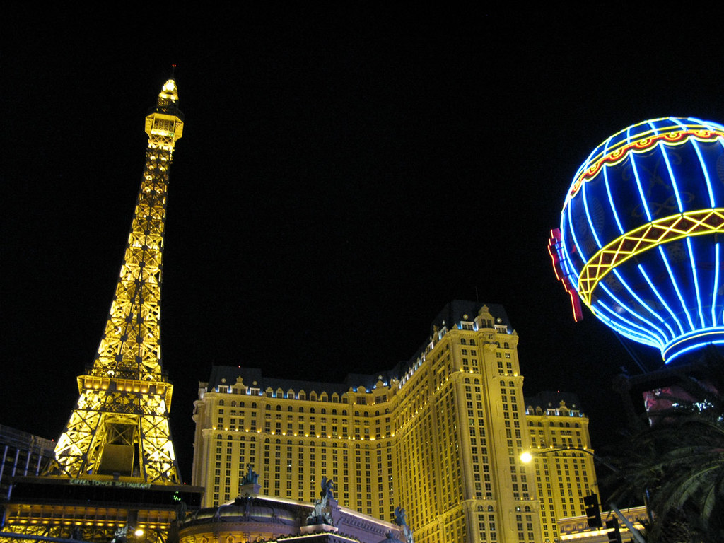 View from outside the Paris hotel in Las Vegas