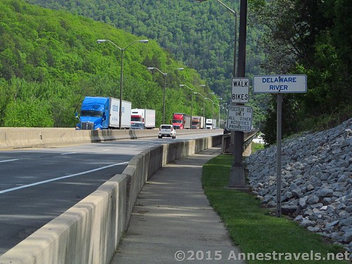 The trucks zoom past on I-80 as I hiked the Appalachian Trail across the Delaware River to the NJ/PA state line, Delaware Water Gap, Pennsylvania