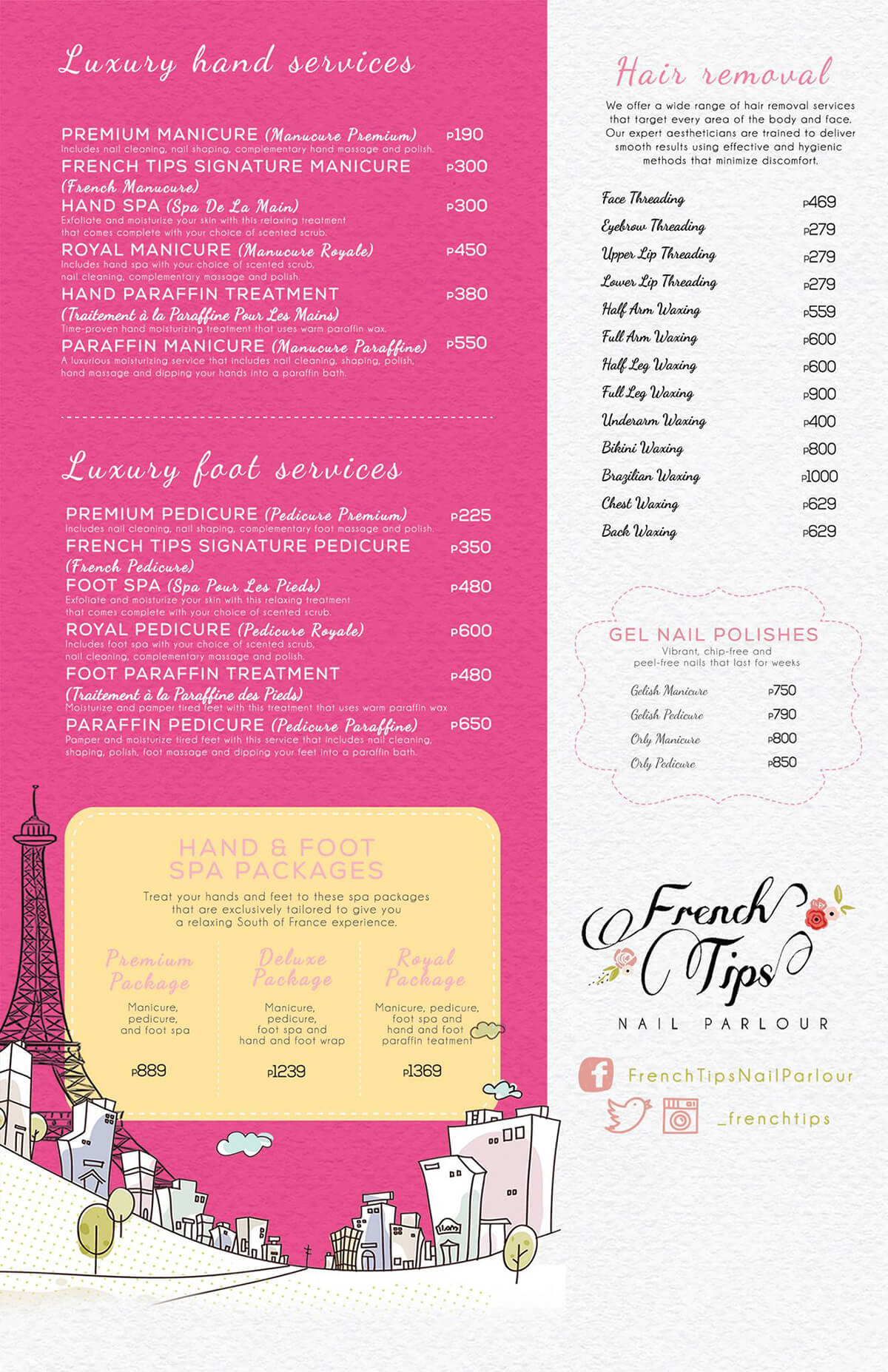 French Tips Price List