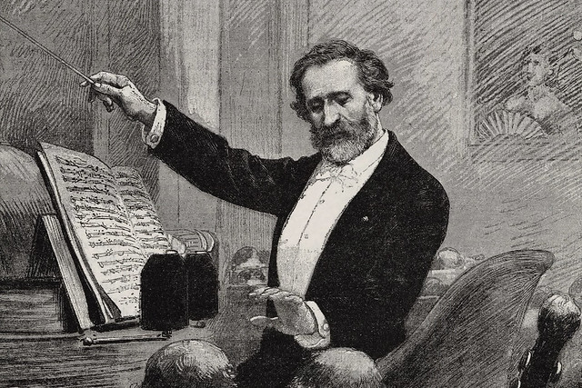 Verdi conducting in Paris, 1880