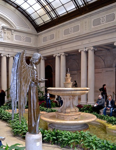 courtyard, Frick collection, angel, fountain