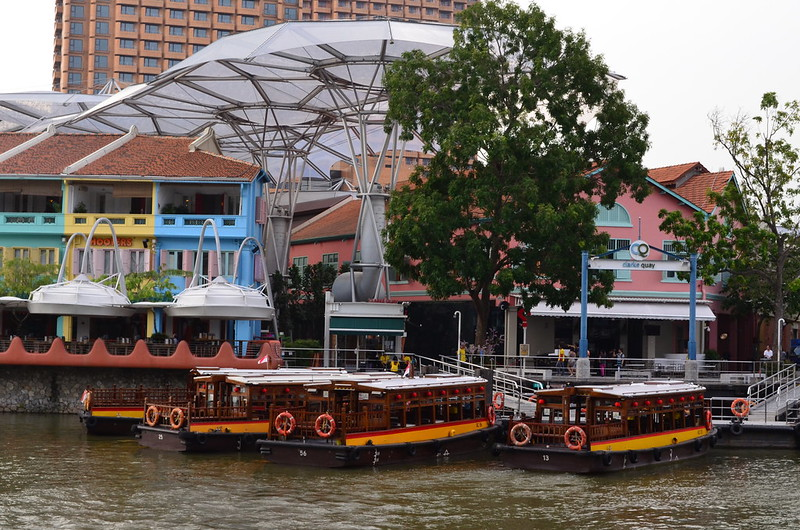 Boats along the Singapore River