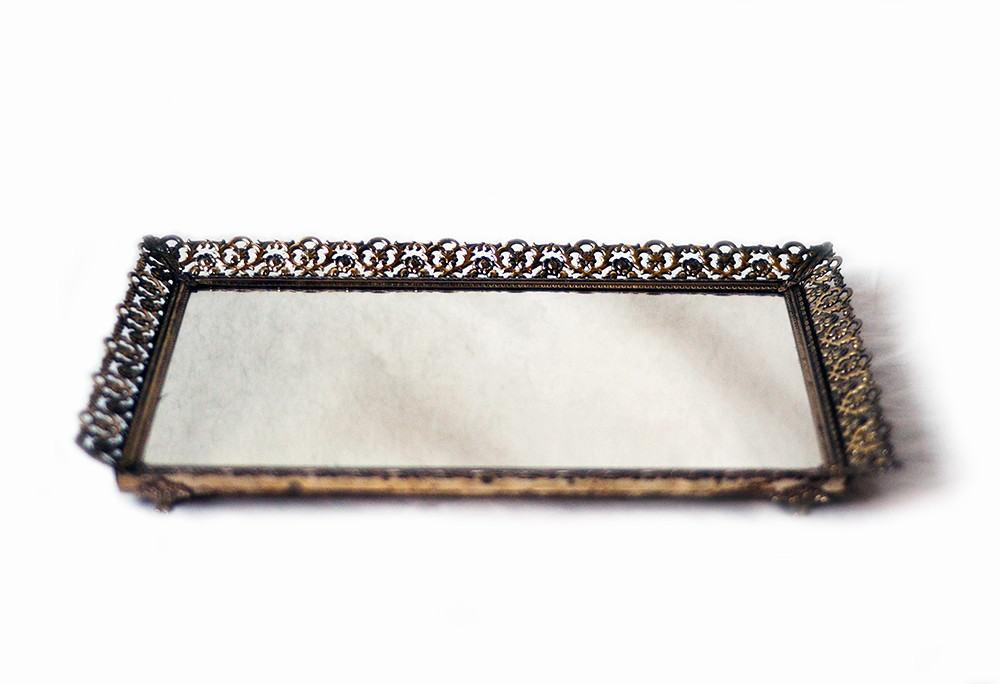 Large Rectangular Vintage Mirror Tray in Filigree Frame