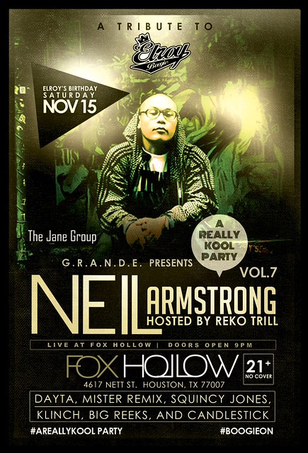 11/15 - DJ Neil Armstrong returns to Houston at Fox Hollow