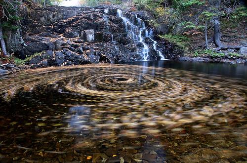 Waterfall powered leaf swirl...