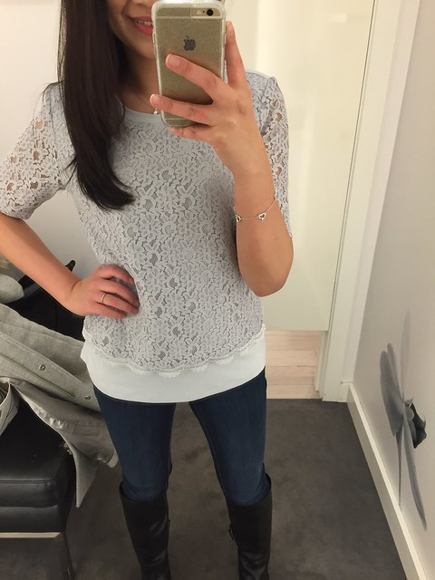 Ann Taylor Lace Overlay Top, size S