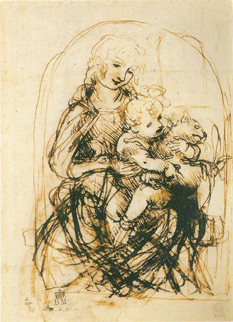 Leonardo da Vinci, Studie zu einer Madonna mit Katze, 1481--1483
