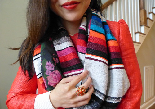 serape scarf, poppy coat