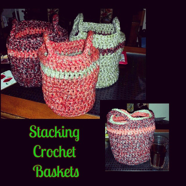 3 round stacking crochet baskets out of chunky yarn. Perfect for all the small toys like legos, action figures, etc. #phoenixrosedesign  #crochet #baskets #stacking #black #orange #green #acrylic #chunky #solutions #organization #homedecor #handmade #Phot