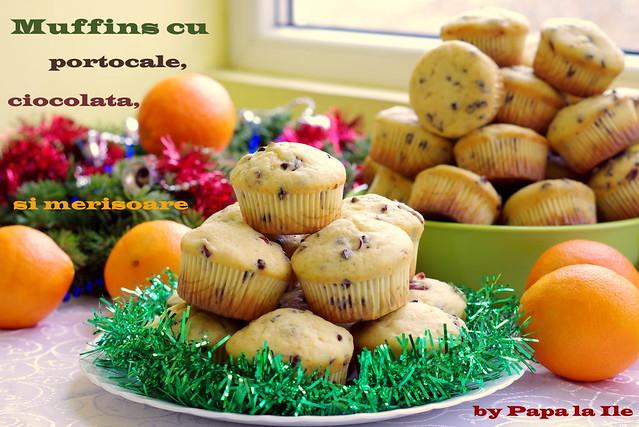 Muffins cu portocale, ciocolata si merisoare...
