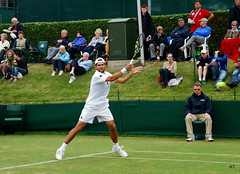 Simone Bolelli on one of the main courts at Wimbledon qualifying