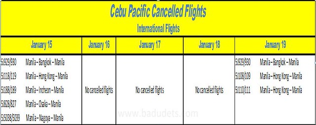 cebu pacific cancelled international flights papal visit