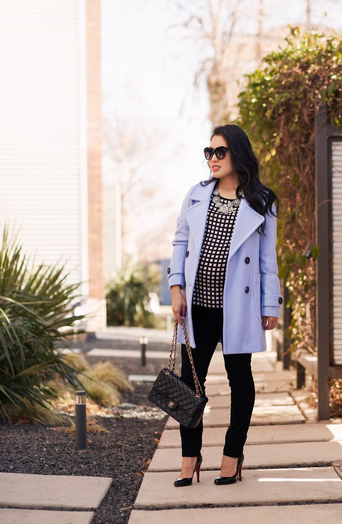 cute & little blog | petite fashion maternity | oasap pastel blue wool coat, black white windowpane checkered blouse, crystal cluster statement necklace, chanel flap purse | fall outfit