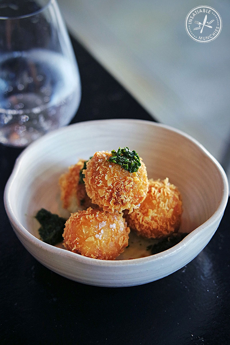 smoked eel croquettes with zesty chimichurri