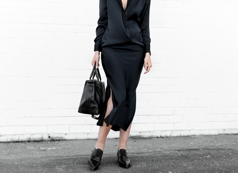 modern legacy, street style, christopher esber, silk shirt dress, stella mccartney loafers, navy, black, work outfit, style (1 of 1)