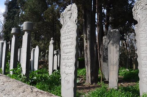 Ein Feld von Grabsteinen ist der Friedhof bei Eyüp