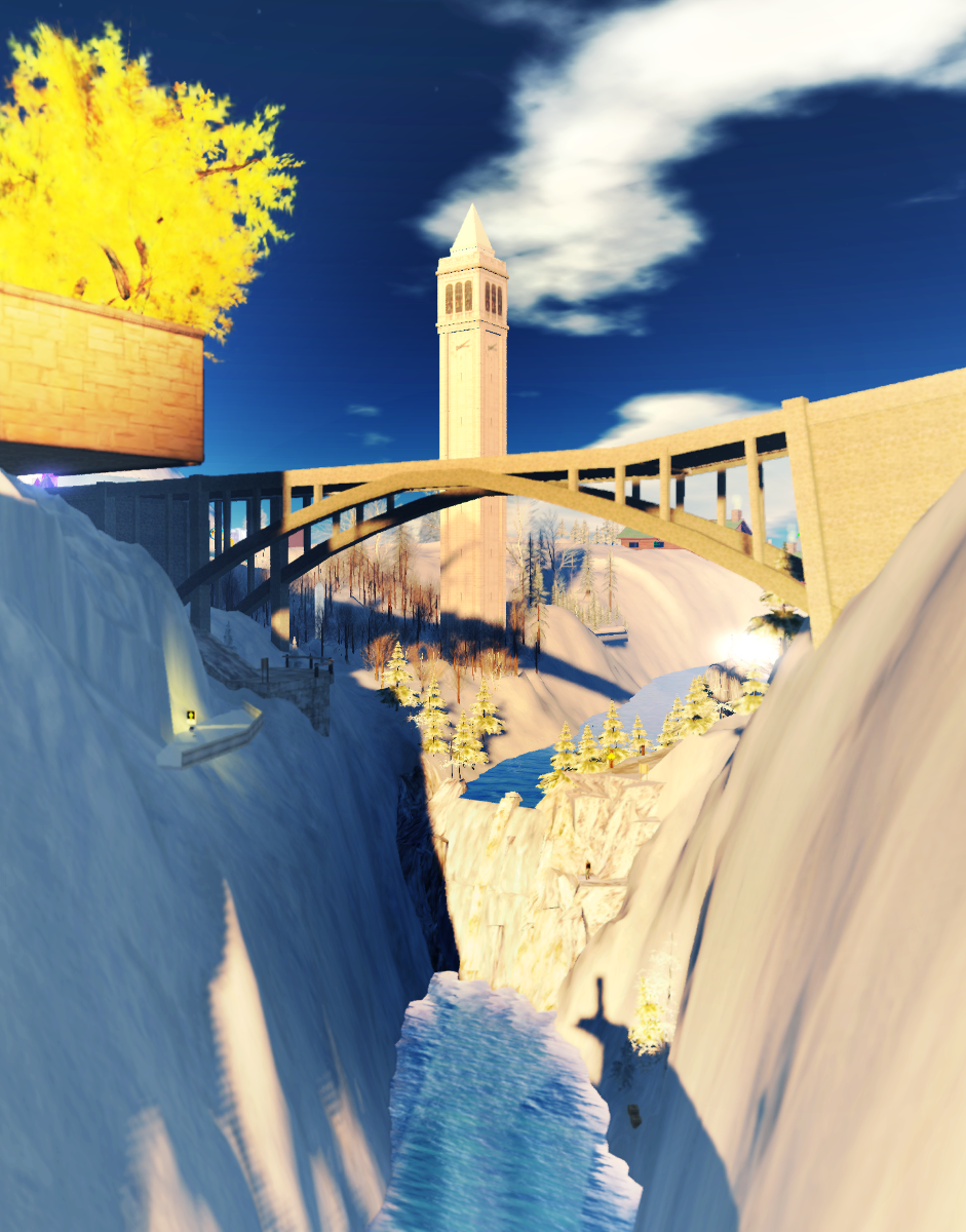 Bridge and waterfall at Durango, Snowlands