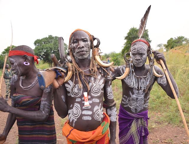 Mursi Warriors, Mago, Ethiopia