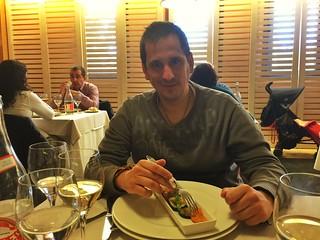 Sele comiendo en el Hotel Balneario Villa de Olmedo (Valladolid)