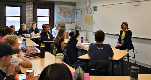 Congresswoman Pelosi meets Children's Day School Students