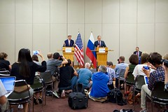 U.S. Secretary of State John Kerry speaks as he and Russian Foreign Minister Sergey Lavrov address reporters during a joint news conference following a bilateral meeting focused on Syria held August 26, 2016, at the President Wilson Hotel in Geneva, Switzerland. [State Department Photo/ Public Domain]