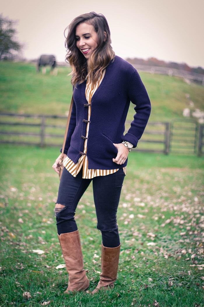 fall outfit. fall layers. virginia winery. knit sweater,. vertical stripe silk shirt. distressed black skinnies. va darling. 8