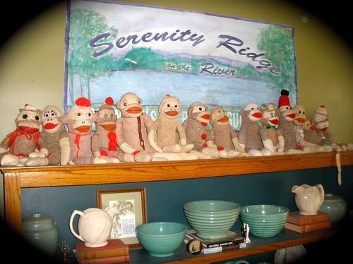 sock monkeys in a row