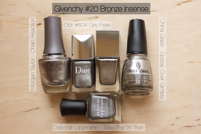 13 Givenchy #20 Bronze Insense comparison Morgan Taylor   Chain Reaction, Dior #604 Gris Perle, China Glaze Gossip Over Gimlets, Deborah Lippmann   Take The
