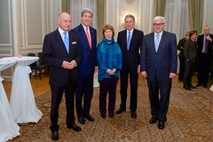 U.S. Secretary of State John Kerry stands with representatives of the E3+1 - French Foreign Minister Laurent Fabius, Baroness Catherine Ashton of the European Union, British Foreign Secretary Philip Hammond, and German Foreign Minister Frank-Walter Steinmeier - before they held a working dinner at the British Embassy in Vienna, Austria, on November 23, 2014, amid multilateral negotiations with Iran about the future of its nuclear program.  [State Department photo/ Public Domain]
