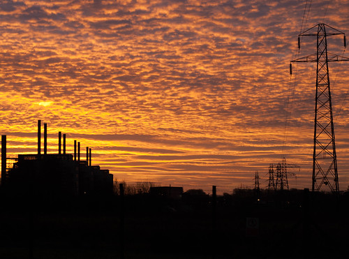 uk sky station clouds sunrise scotland nikon power nuclear pylons dg dumfries galloway electricty chimenys d80 chapelcross