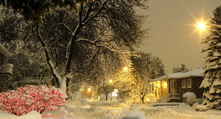 Winter storm and light before Christmas in Montreal, Quebec, Canada