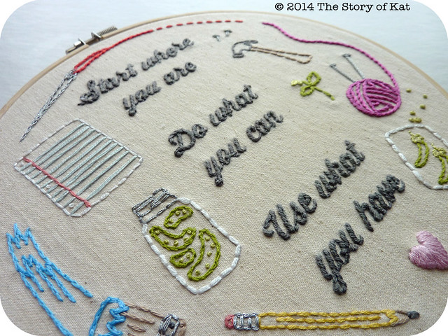 DIY Embroidery (detail 1): The Word Series: The Story of Kat