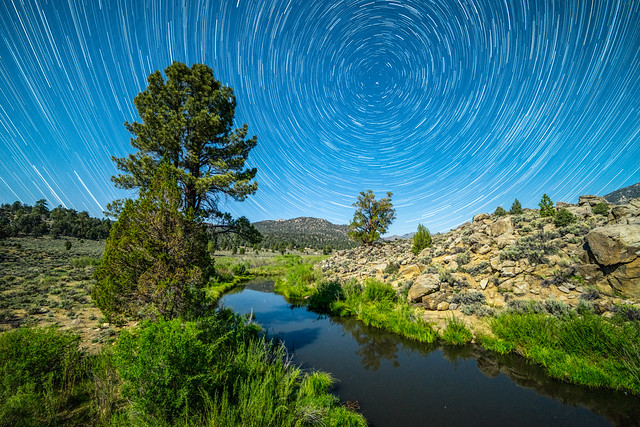star, trail, lake, nature