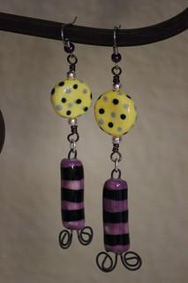 Whimsical Yellow and Purple Porcelain Bead Earrin Set E- 0153