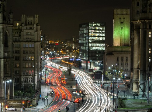 road longexposure architecture night liverpool buildings traffic streetscene vista lighttrails thestrandliverpool