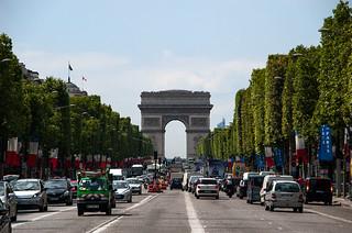 Avenue des Champs Elysées et Arc de Triomphe