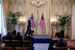 U.S. Secretary of State John Kerry holds a news conference at the U.S. Ambassador's Residence in Paris, France, on November 20, 2014, before traveling to Vienna, Austria, to join negotiations with Iranian officials about the future of their nuclear program. [State Department photo/ Public Domain]