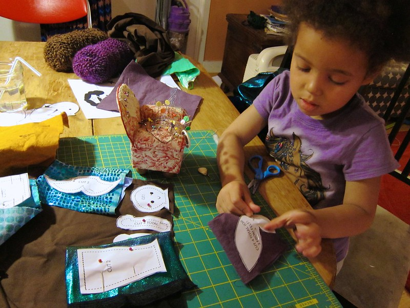 Pinning her fabric